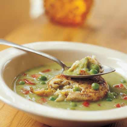 Spring Pea Soup with Crab Flan