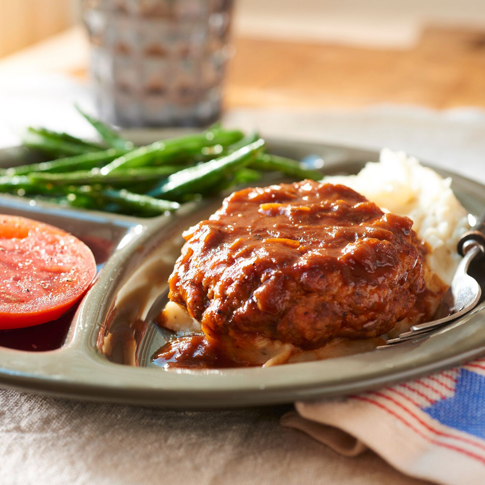 Quick and juicy Salisbury Steak makes for an ideal dinner tonight and a super-filling lunch tomorrow. We used a blend of two kinds of ground meats for the patties. Serve with roasted vegetebales, such as potatoes and carrots, for a quick, satisfying 25-minute supper.Superfast Salisbury Steak