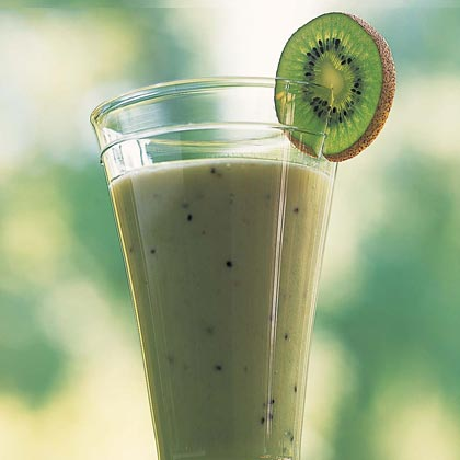 Sunrise Smoothie RecipeThis smoothie is a nutrition superstar with soy milk, vitamin-C containing kiwifruit, and high-antioxidant green tea. It's sweetened with honey instead of sugar, and has only 1.1 grams of fat per serving. Not all soy milks are low in fat, so be sure to buy reduced-fat soy milk for this creamy drink.