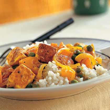 Tofu with Red Curry Paste, Peas, and Yellow Tomatoes Recipe