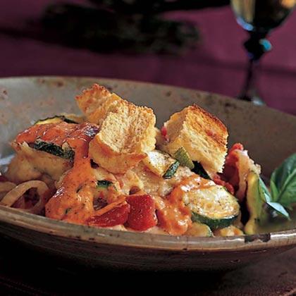 Zucchini Casserole with Red-Pepper Aioli