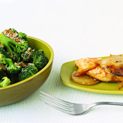 Parmesan-Crumb Broccoli RecipePrepare this light and flavorful side dish during the winter months when broccoli is in peak season. Try fresh thyme and grated Parmesan cheese for a low calorie flavor kick.