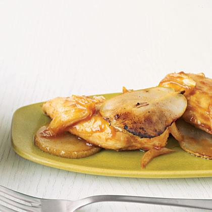 Orange-Glazed Chicken with Pears