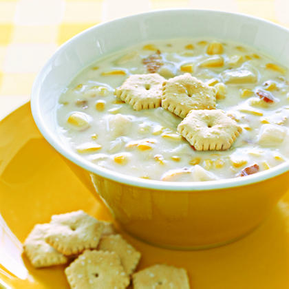 Corn Chowder RecipeFor quick and easy comfort food, try a corn chowder that tastes like it's been simmering all day on the stove, but takes less than 10 minutes to make.  Serve with a handful of oyster crackers.Video: How to Cook Corn Chowder