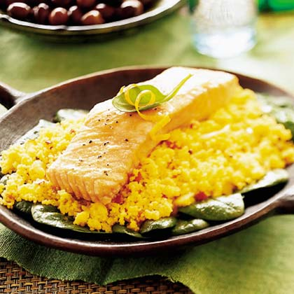Roast Salmon with Coriander Couscous Recipe