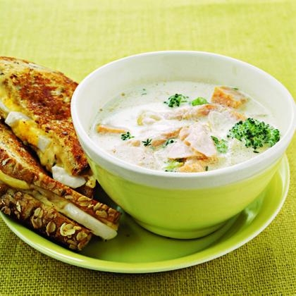 Salmon, Sweet Potato, and Broccoli Chowder