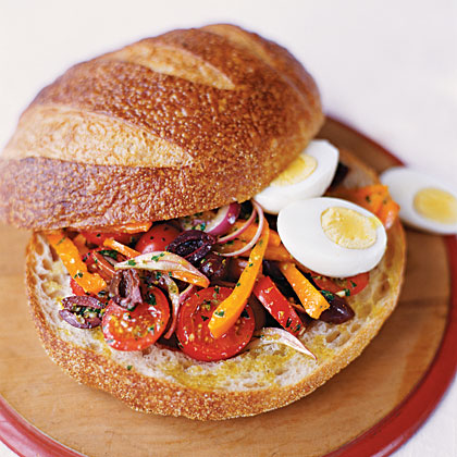 Pressed Summer Sandwich with Eggs and AnchoviesRecipe