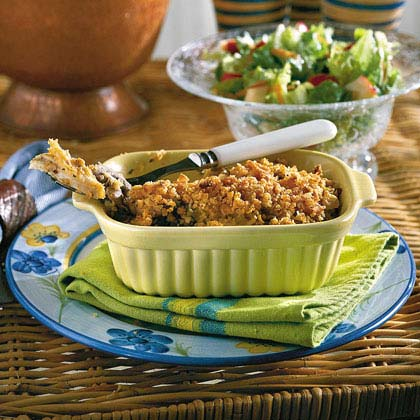 "Chicken Casserole D'Iberville RecipeThis make-ahead casserole received rave reviews from the MyRecipes family. It may take longer to prepare, but it's worth the wait. See the ""Kitchen Express"" shortcuts if you're pressed for time."