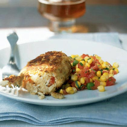 Pearl Oyster Bar Crab Cakes with Sweet Corn Ragout Recipe