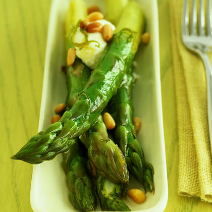 Honey-Lime Asparagus with Goat Cheese Recipe