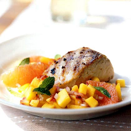 Grilled Mahimahi with Peach and Pink Grapefruit Relish Recipe
