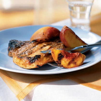 Peach-Glazed Barbecue Pork Chops and PeachesRecipe
