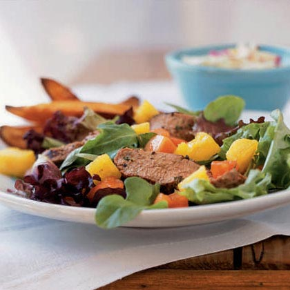 <p>Grilled Jamaican Pork Tenderloin Salad</p>