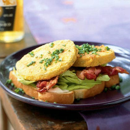 Open-Faced Bacon, Lettuce, and Fried Green Tomato Sandwiches Recipe