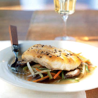 Striped Bass Fillet with Lobster Stock and Aromatic Vegetables