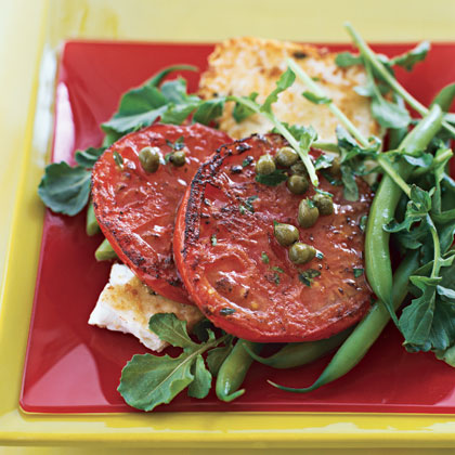 Pan-Grilled Tomato and Feta Salad with Lemon-Caper Dressing Recipe