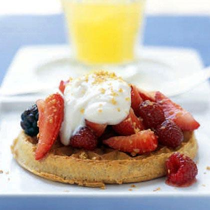 Honeyed Yogurt and Mixed Berries with Whole-Grain Waffles Recipe