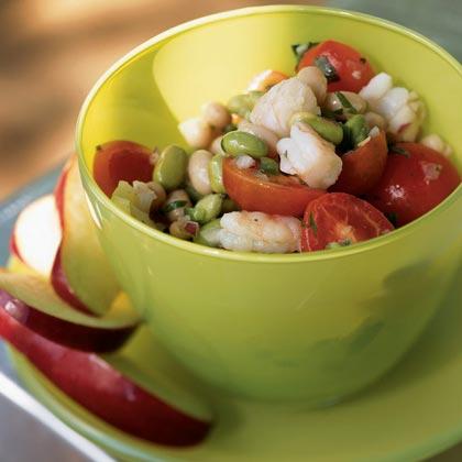 Edamame and Bean Salad with Shrimp and Fresh Salsa
