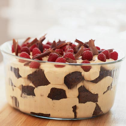Chocolate-Caramel Trifle with Raspberries RecipeLayered desserts like this trifle are really much better after they've chilled overnight, so this is a great make-ahead dessert to serve at your next dinner party.