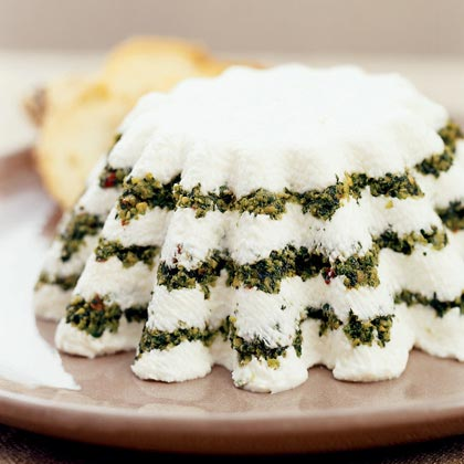Yogurt Cheese Torta with Pesto