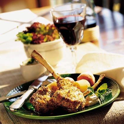 Parmesan-Herb Lamb Chops with Mint Aioli