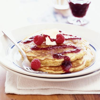 Oatmeal-Raspberry Pancakes with Berry Coulis