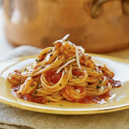 Italian-style Shrimp with Spaghetti