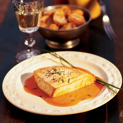 Peppered Swordfish with Cardamom-Carrot Sauce