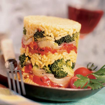 Vegetable-Pilaf Stacks
