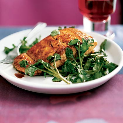 Salmon with Wilted Watercress and Balsamic DrizzleRecipe