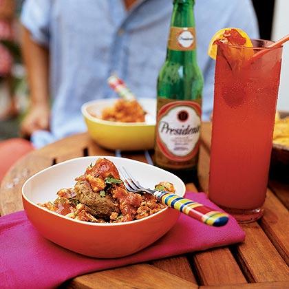 Mofongo Relleno de Pollo Guisado (Plantains and Pork Cracklings with Stewed Chicken)