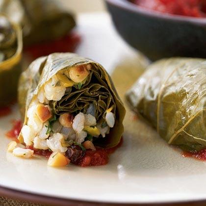 Brown Rice-Stuffed Grape Leaves in Tomato Sauce Recipe
