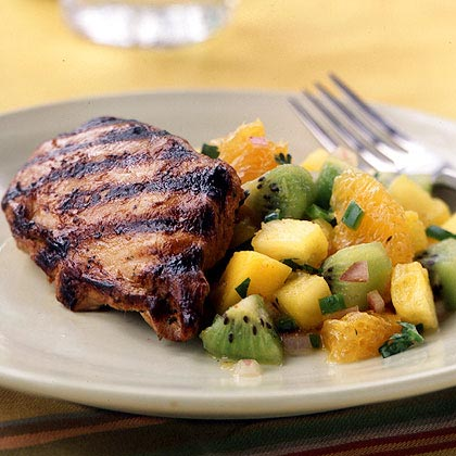 Combine lemon juice, soy sauce, fresh ginger, lemon pepper, and garlic to make a kickin' marinade for grilled chicken. Fruit salsa adds sweetness and crunch to this tropical dish.Watch the VideoGrilled Chicken with Fruit Salsa Recipe