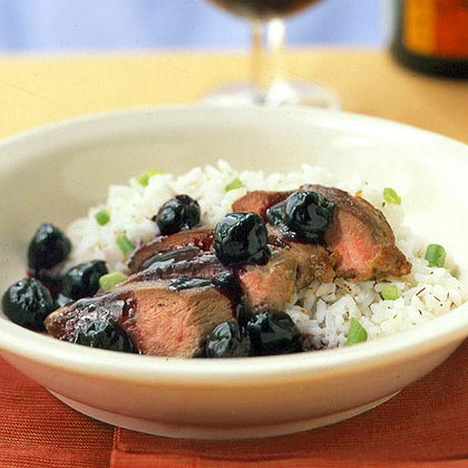 Duck Breast with Double-Cherry Sauce RecipeWhile the sauce calls for frozen cherries, substitute fresh cherries if you can find them for an even brighter flavor. The combination of cherries, cherry preserves, and a splash of brandy make for an elegant sauce to coat the duck breast. Try it with chicken as well.