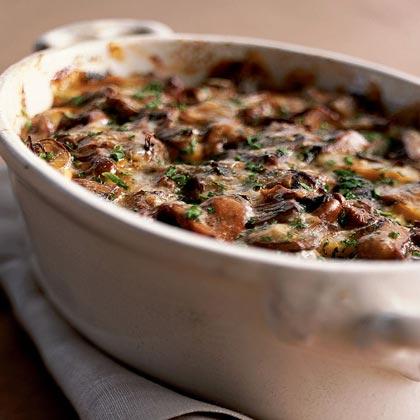 Wild Mushroom-and-Sweet Potato Gratin