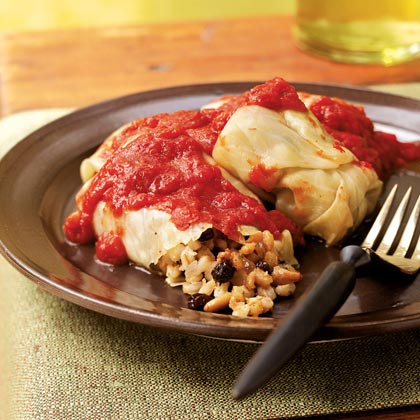 Barley-Stuffed Cabbage Rolls with Pine Nuts and Currants Recipe