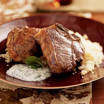 Lamb Chops with Herbed Yogurt over Couscous Recipe