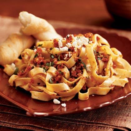 Pasta with Sun-Dried Tomato Pesto and Feta Cheese