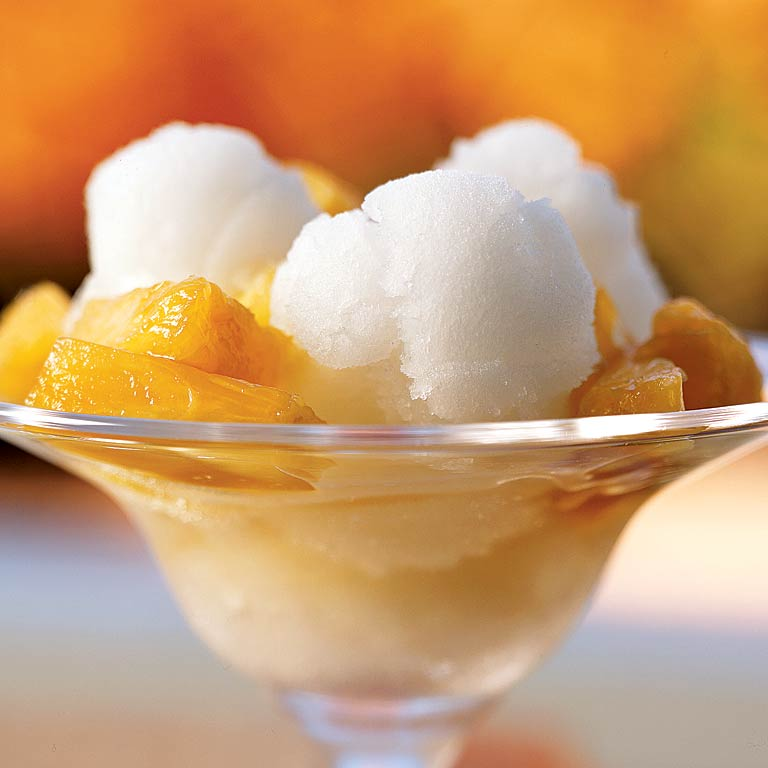 Vanilla Bean Sorbet with Pineapple Topping