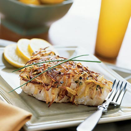 Potato-Chive-crusted Halibut Recipe | MyRecipes