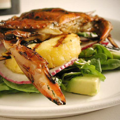 Grilled Soft-Shell Crab and Pineapple Salad with Watercress Recipe