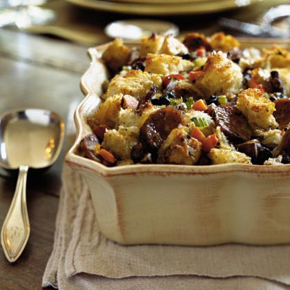 """This is by far the best stuffing ever! I loved it and got so many compliments on it! It has surely become a staple on our holiday meal list!"" —JennSpkermanHerbed Bread Stuffing with Mushrooms and Sausage