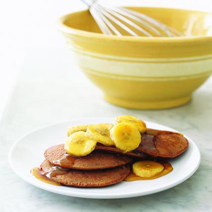 Chocolaty Pancakes with Sauteed Bananas
