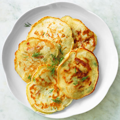 Dill Pancakes with Country Ham and CheeseRecipe