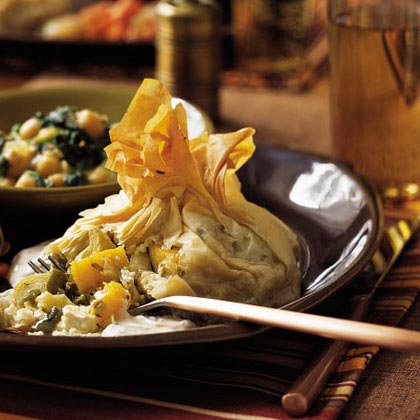 Phyllo Purses with Roasted Squash, Peppers, and Artichokes Recipe