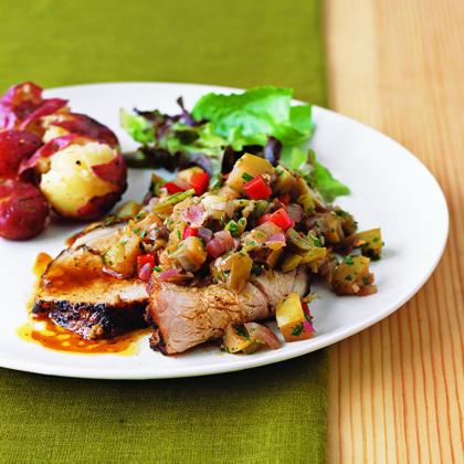 Roast Pork Tenderloin with Spicy Apple-Green Chile SalsaRecipe