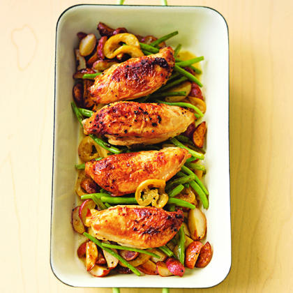 Pan-Roasted Chicken with Lemon-Garlic Green BeansRecipe