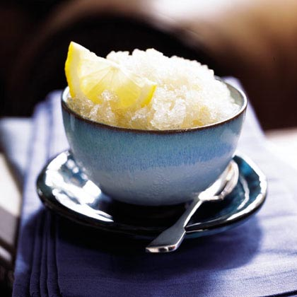"Green Tea Granita RecipeThe Italian word for ""ice"", a granita is a frozen mixture of water, sugar and another liquid flavoring. This tangy granita gets is flavor from green tea and lemon juice and is sweetened with honey instead of sugar."
