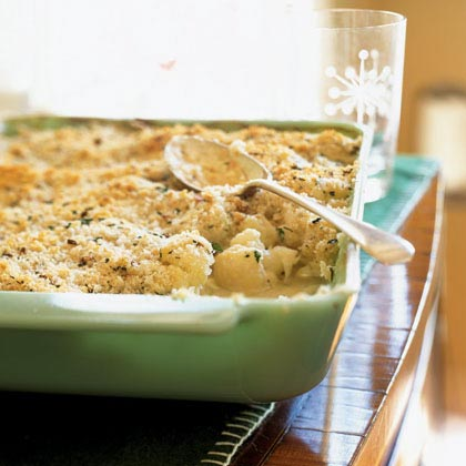 Creamed Cauliflower with Herbed Crumb Topping Recipe