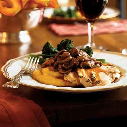 Roasted Chicken with Asiago Polenta and Truffled Mushrooms Recipe